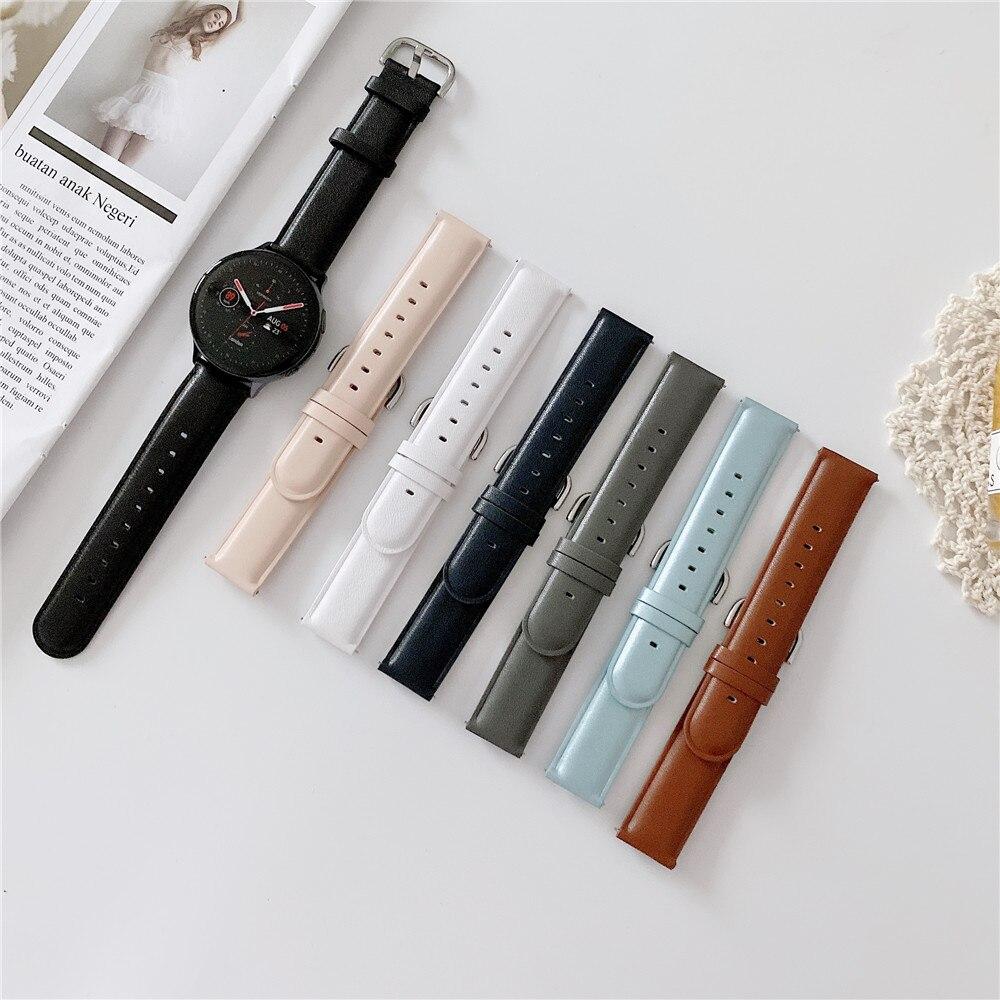 Кожаный ремешок для смарт-часов Garmin Vivoactive 3/3HR/Vivomove HR 20/22 мм ремешок браслет ремень для Samsung Galaxy Watch 3 41/45 мм/42/46 мм