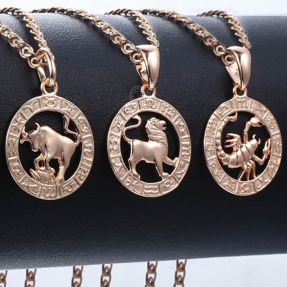 Trendsmax 12 Zodiac Sign Constellations Pendants Necklaces For Women Men 585 Rose Gold Male Jewelry