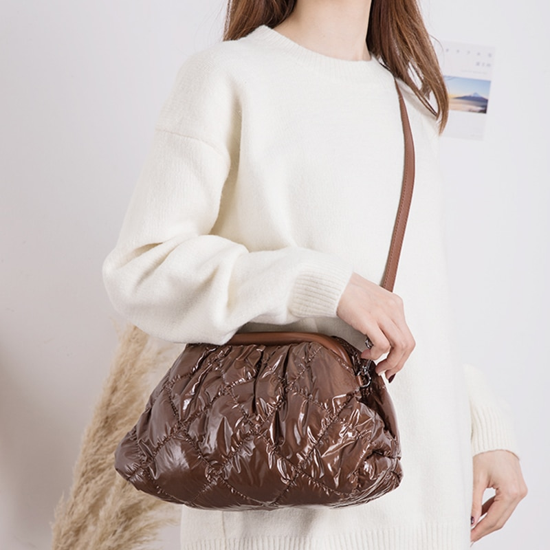 Women Cotton Feather Down Pillow Bag Dumpling Geometric Pattern Crossbody Bags Multi-pocket clutch Purse and Handbag