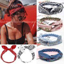 Women Girls Summer Bohemian Hair Bands Print Headbands Vintage Cross Turban Bandage Bandanas HairBands Hair Accessories Fashion