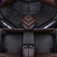 leather custom car floor mat for ford kuga galaxy edge explorer mondeo focus mustang escape carpet phone pocket