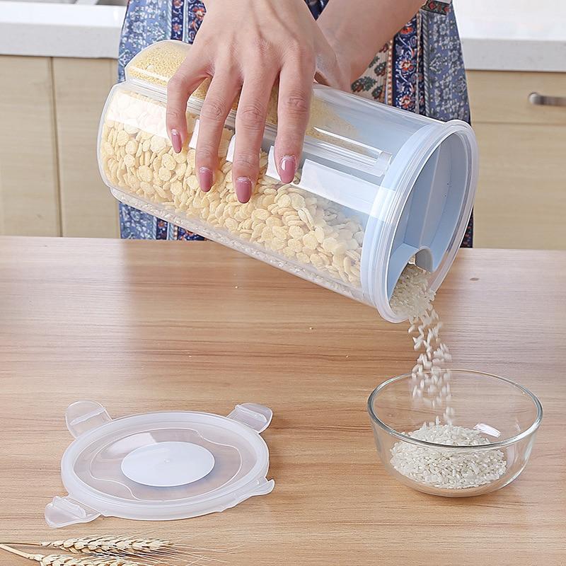 Tanque de almacenamiento sellado rotatorio de cocina, tanque de almacenamiento de carga seca, tanque de almacenamiento de mijo a prueba de humedad, recipiente para arroz, tanque de Cereal de grano de plástico