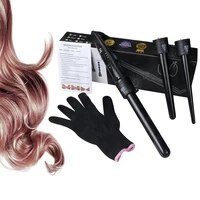 5 in 1 ceramic curling iron wand set hair curler rollers machine with 5 interchangeable ceramic barrels heat resistant glove