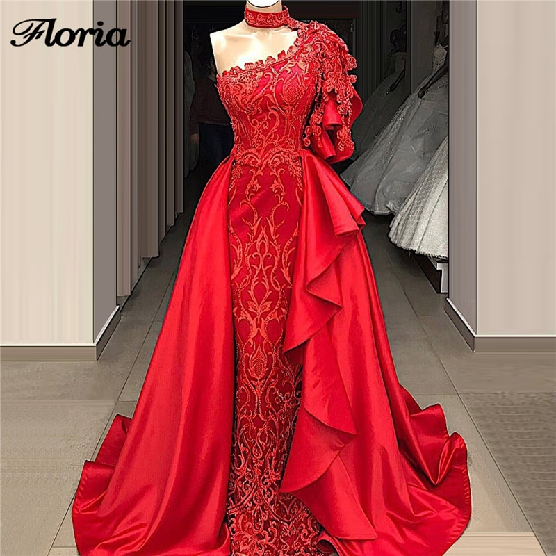 Gorgeous Red Beading Evening Dresses Muslim Mermaid Floor-Length Robe De Soiree 2020 New Arrival Pro