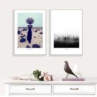 Affiches et imprimes dart de paysage de fille de brouillard de mode Simple  peinture dart murale nordique  images decoratives pour la decoration de la maison de salon