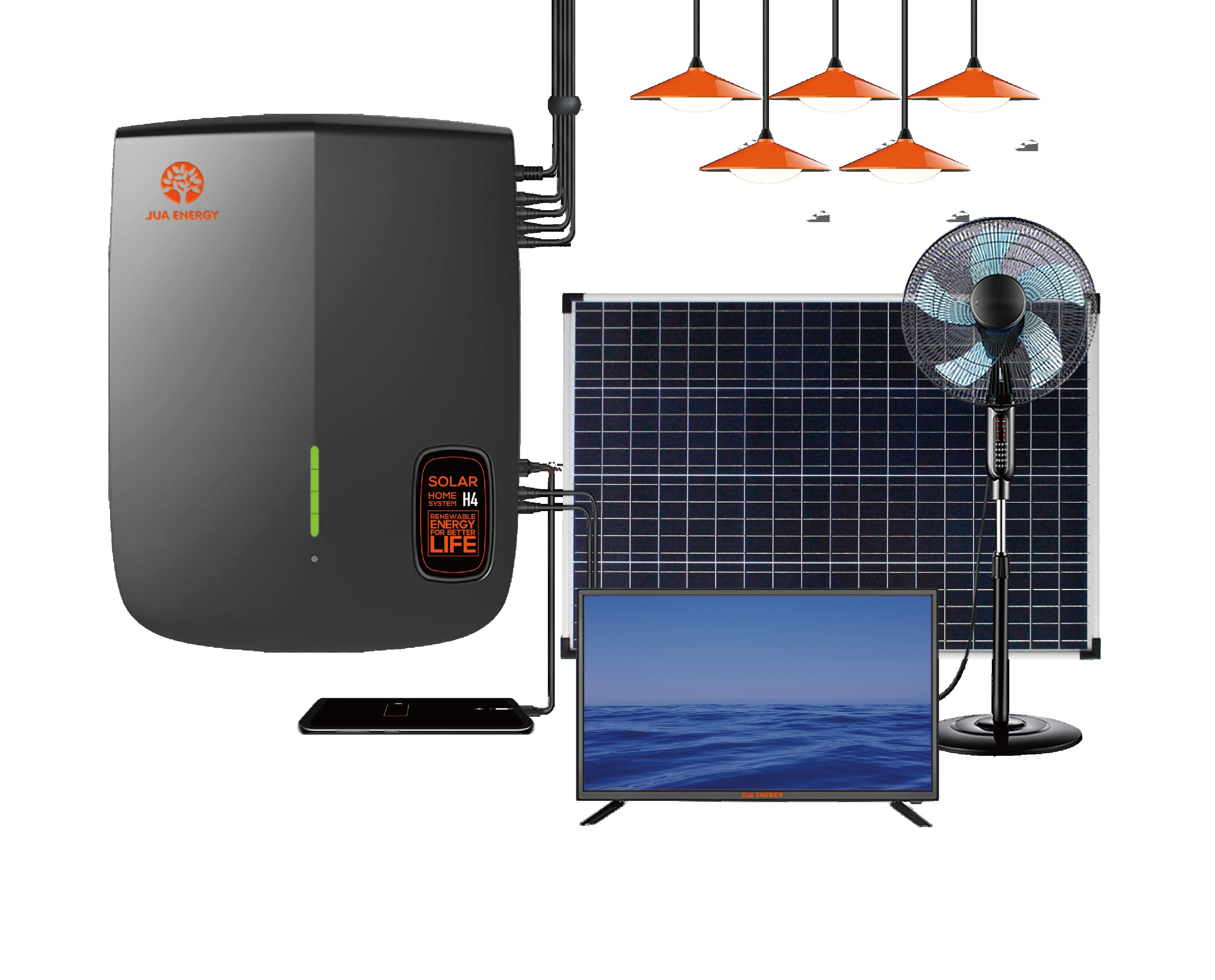 JUA Energy 100W Solar Panel 12V DC Solar Fan 32 Inch TV Solar LED Indoor Lighting Solar Power System for Africa