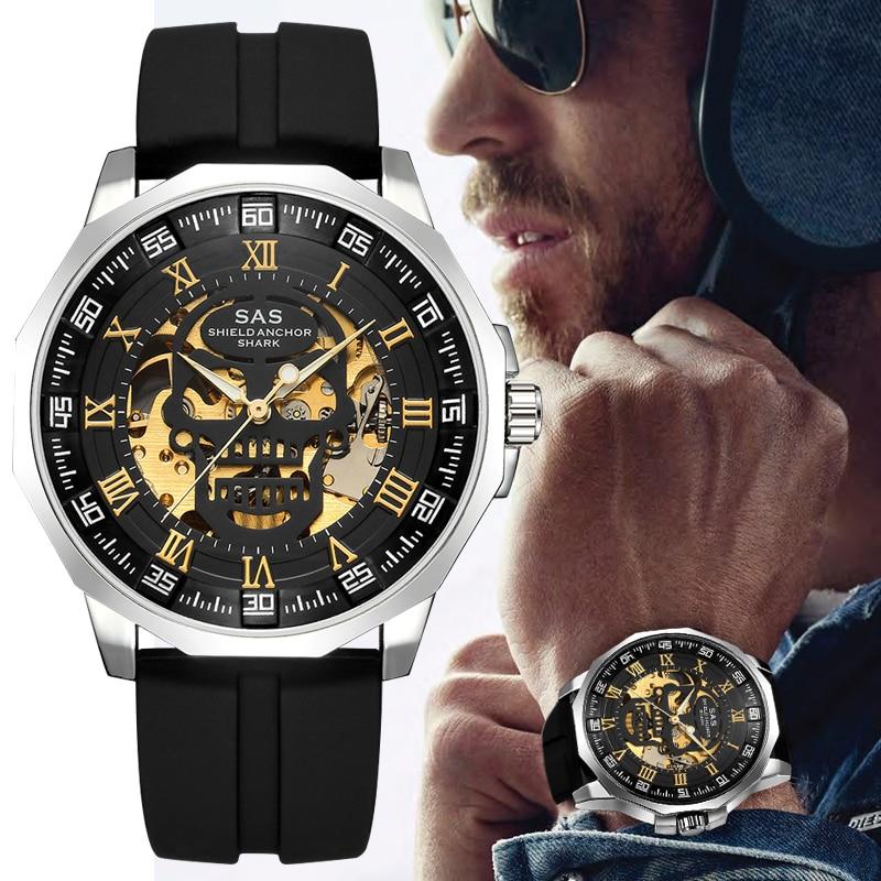 Shark Sports Watch Men Fashion 3D Skull Design SAS Shield Anchor Vintage Mechanical Watches Silicone Strap Skeleton Wirst Watch