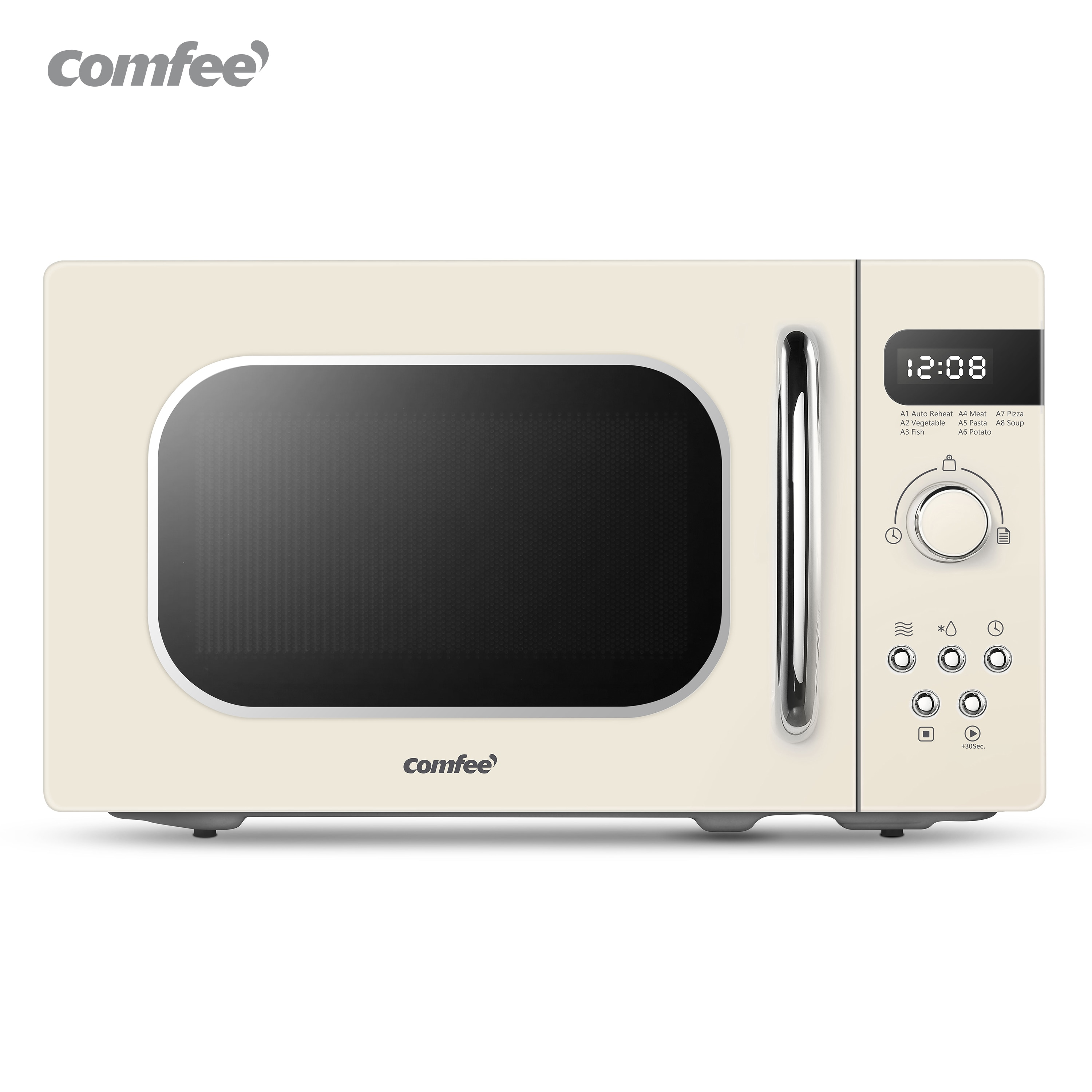 rotary microwave oven fully automatic 6 speed adjustable unified temperature control 20l low power consumption lightweight new COMFEE White Retro Style 800w 20L Microwave Oven with 8 Auto Menus 5 Cooking Power Levels and Express Cook Button Mint Green