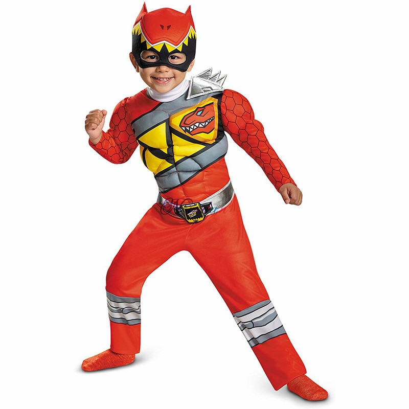 Dinosaur Team Red Dino Charge Ranger Cosplay Child Baby Kids Superhero Birthday Party Halloween Canival Costume Muscle Suit
