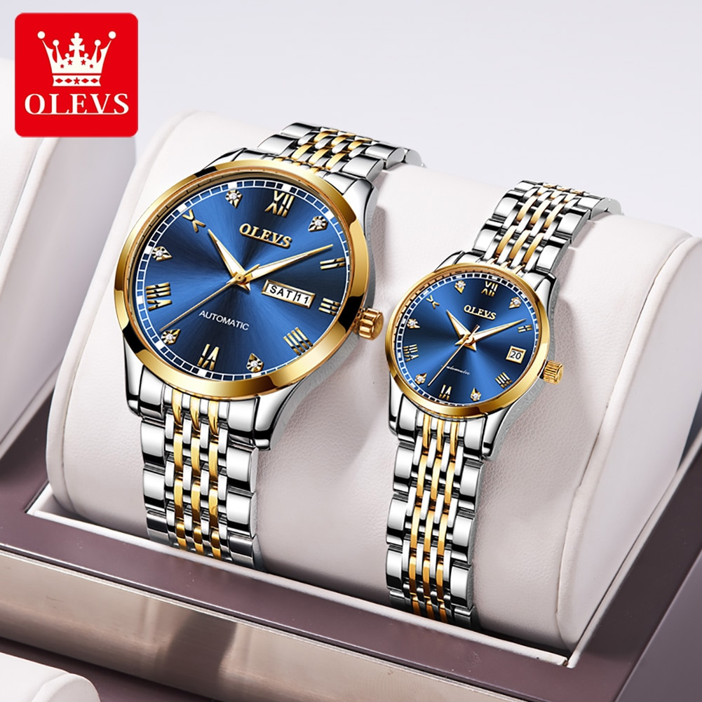 OLEVS Couple Watches Luxury Automatic Mechanical Watch Stainless Steel Waterproof Watches For Men Women Clock Montre Homme 6602