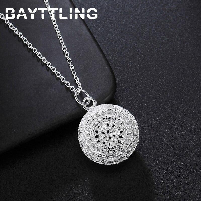 bayttling-925-стерлингового-серебра-18-дюймов-звено-цепи-полый-круглый-стильный-элегантный-кулон-Сердечко-без-каблука-модные-туфли-для-свадьбы