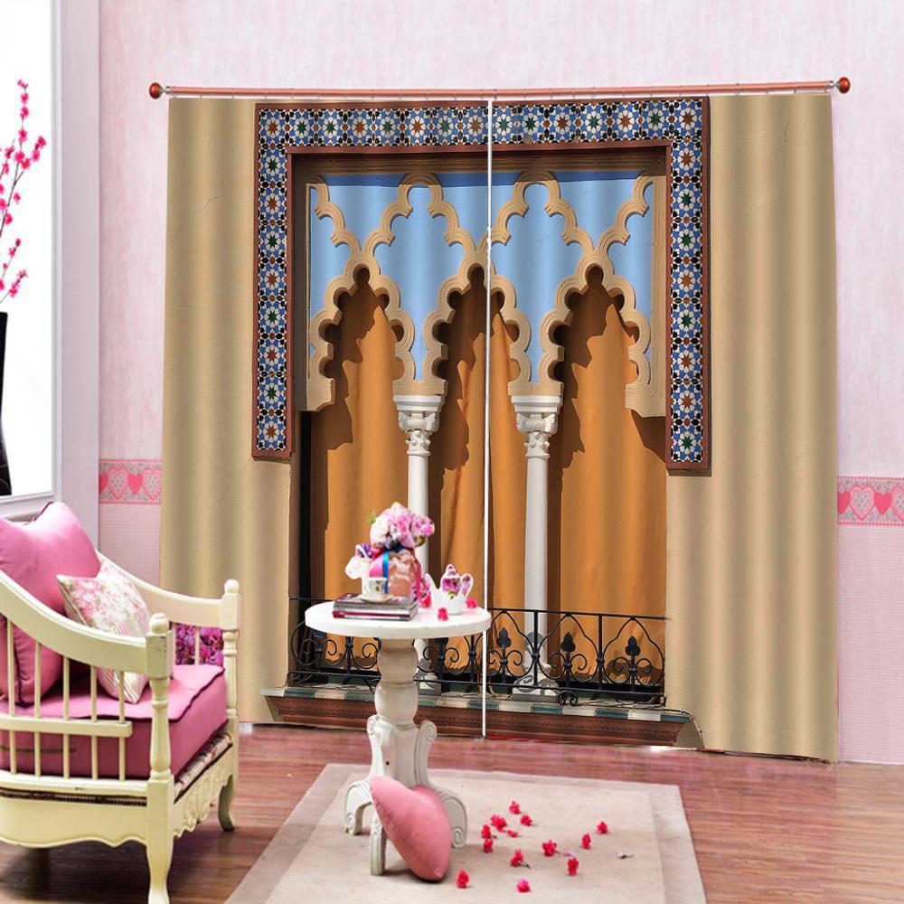 Cortinas de ducha de columna romana de estilo europeo cortinas de barrera de balcón