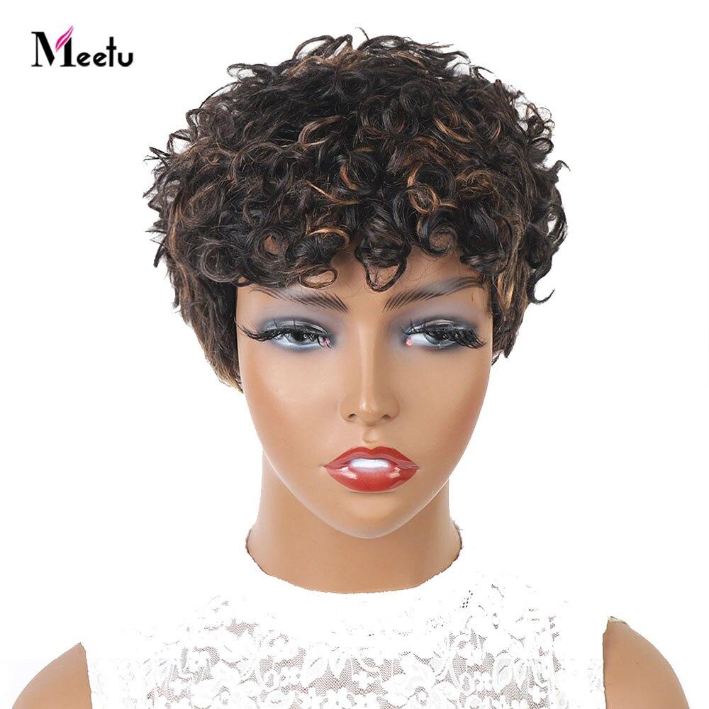 Meetu Summer Clearance Sale Full Machine Made Wigs Curly Wig 100% Human Hair Wig Glueless 29.9 Free Shipping