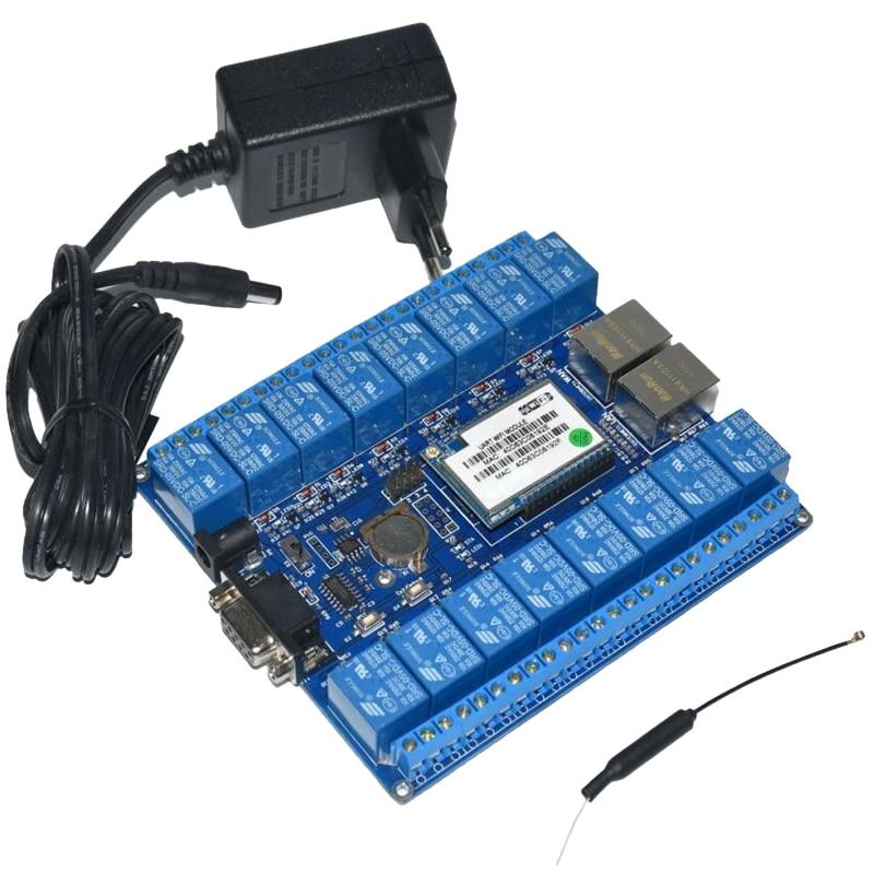 Domótica inteligente cosas de Internet Rs232 Rj45 Puerto Wifi relé módulo placa 16 canales relés P2P Wifi antena (enchufe de la UE)