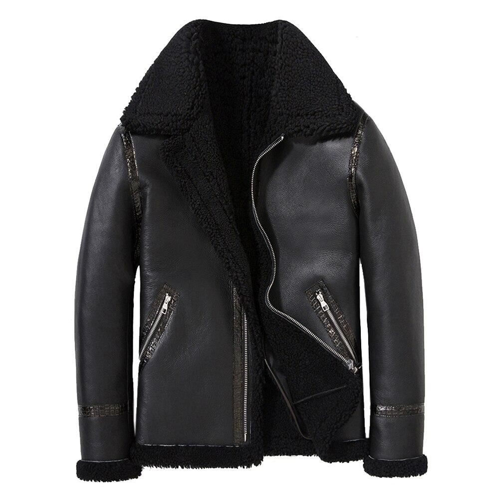 SANI-معطف شتوي من جلد الغنم للرجال ، جاكيت أسود من جلد الغنم ، تصميم جديد