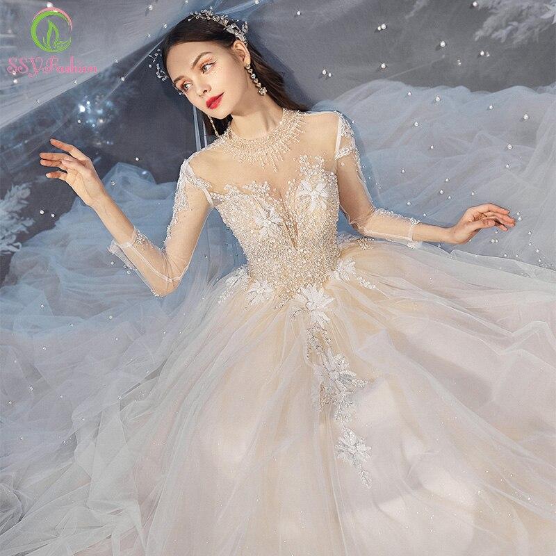 Promo SSYFashion New Luxury Wedding Dress Bride 3/4 Sleeve A-line Sequins Beading Court Train Romantic Wedding Gowns Vestido De Noiva