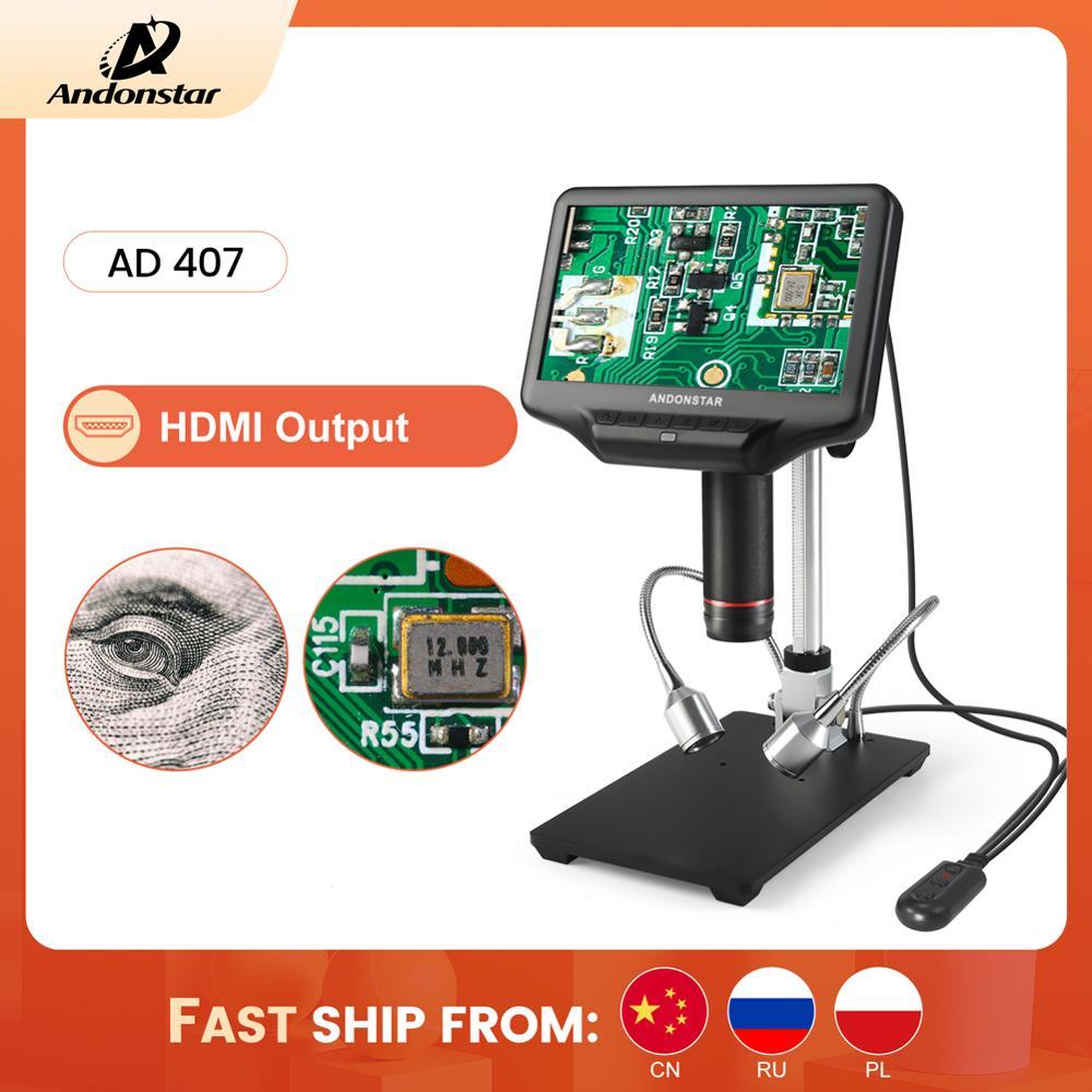 Andonstar-مجهر رقمي AD407 1080P 3D HDMI ، مساحة عمل كبيرة جدًا ، شاشة 7 بوصة ، أداة لحام إلكترونية للإصلاح