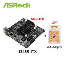Verwendet ASROCK J3455-ITX Mini ITX J3455 niedrigen power verbrauch motherboard desktop Board Mainboard Mit freies WIFI adapter