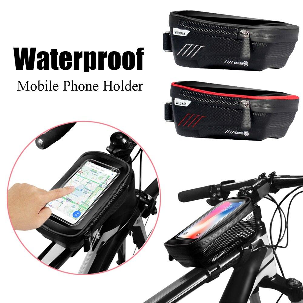 Universal smartphone montagem da bicicleta quadro pannier cruz barra superior tubo à prova dwaterproof água caso titular do telefone móvel saco de proteção