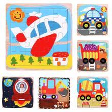 Dessin animé en bois avion fusée voiture mosaïque puzzle conseil développement enfants jouet développer enfant cognition personage couleur formes