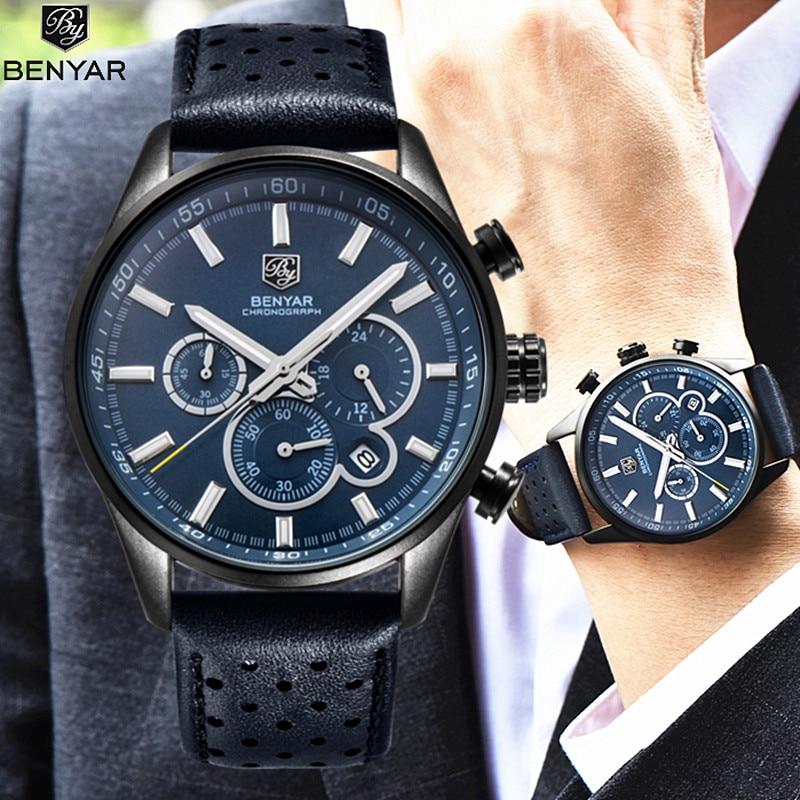 Reloj militar de marca de lujo BENYAR, reloj analógico de cuarzo para hombre, reloj con correa de cuero, relojes deportivos para hombre, reloj de ejército Masculino + caja