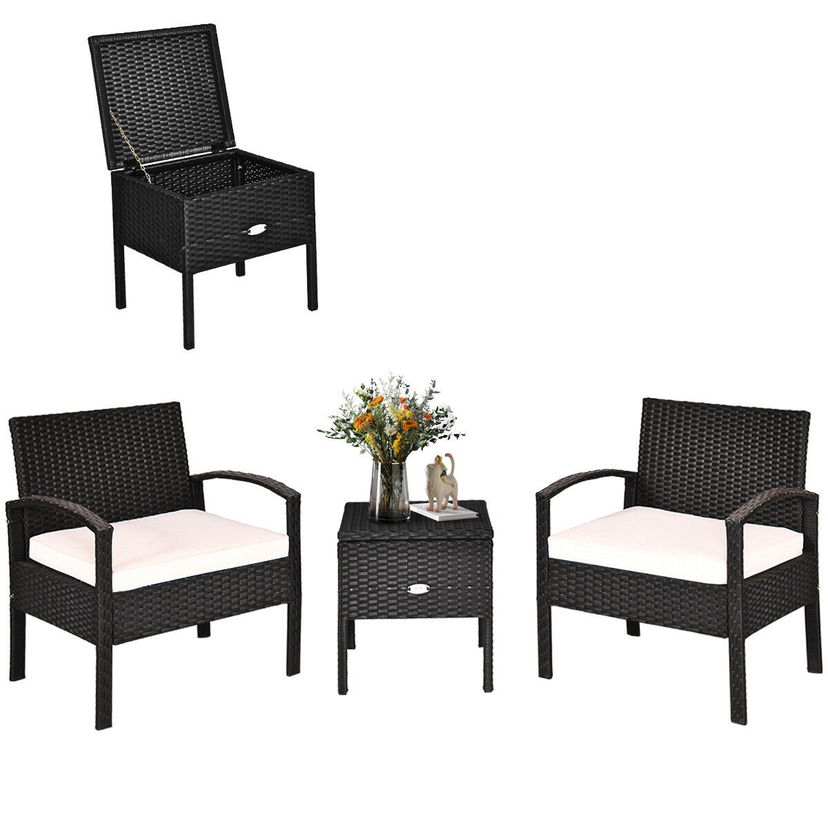 Комплект мебели из ротанга для патио Patiojoy, 3 шт., стол для хранения, мягкий диван, черный HW63757WH