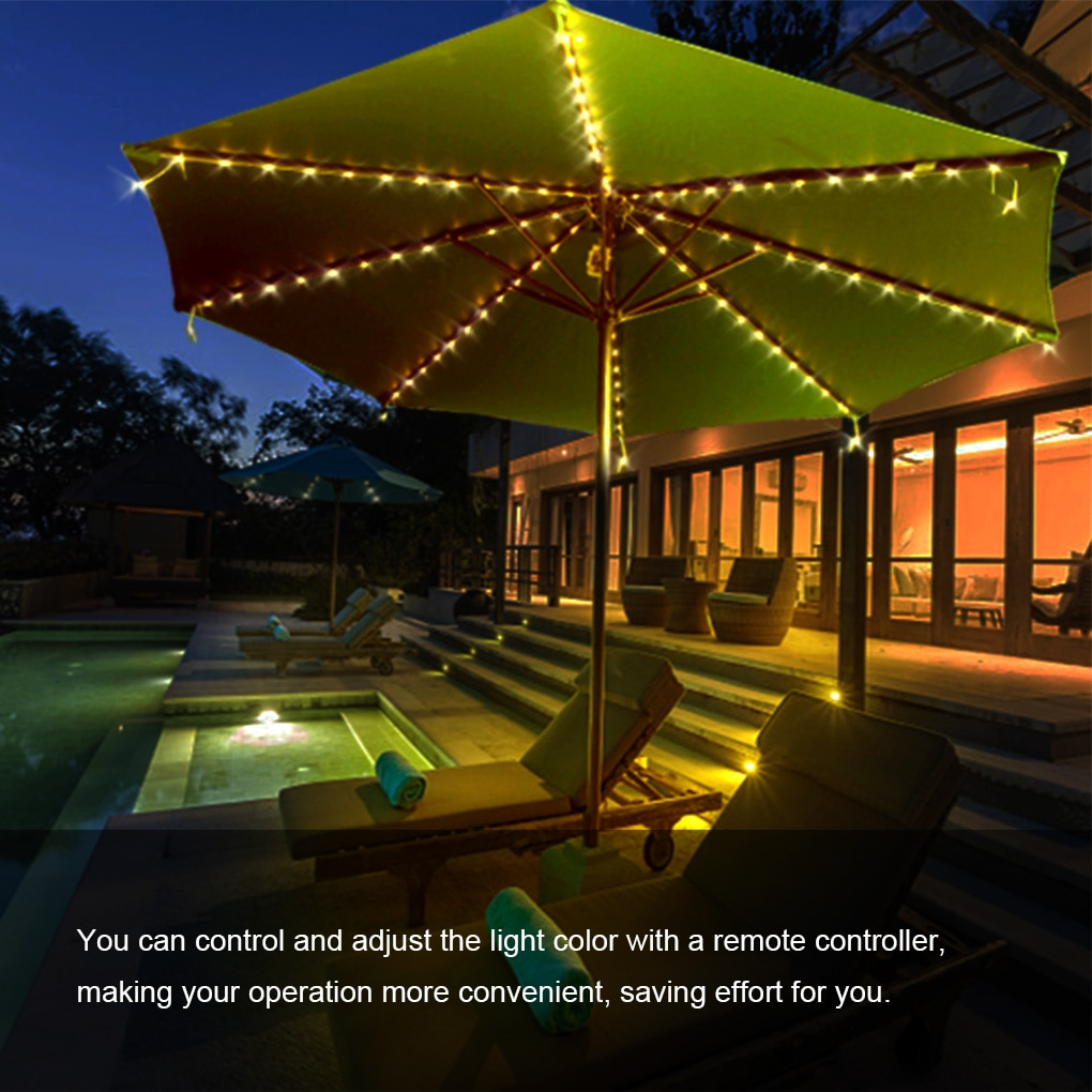 104 LED Solar Power Patio Umbrella Lights Outdoor Garden Parasol Fairy String Lamp IP65 Waterproof Automatic Solar Parasol Light