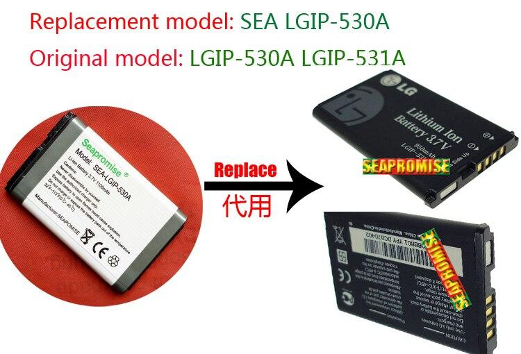 Atacado 5 pces bateria LGIP-530A (LGIP-531A) para lg kp100, km330, ku380, kp160, kp115, kp108, kp105, kx300, gm200