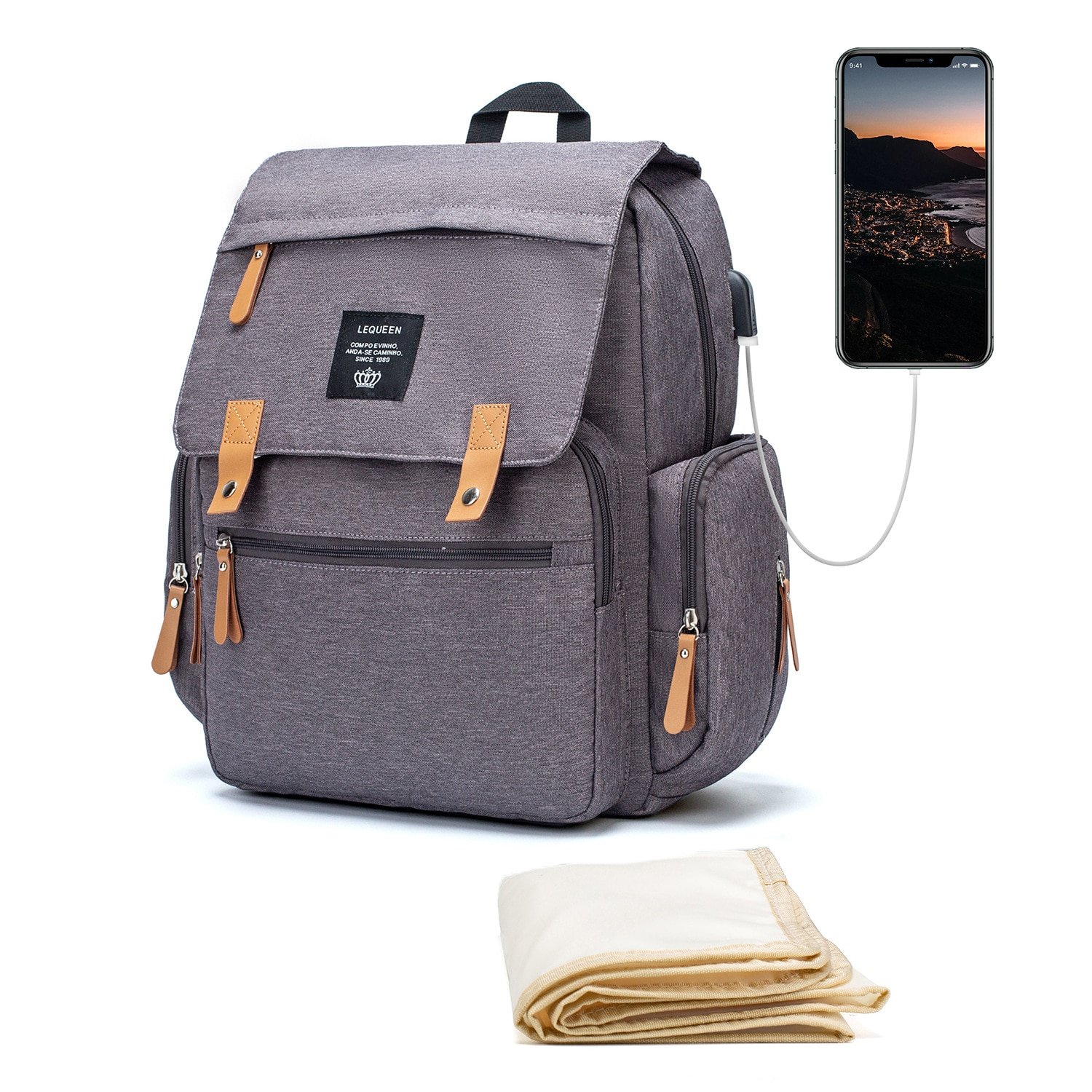 Gray Fashion Baby Bag For Mommy Diaper Bag Backpack Travel Waterproof Nappy Changing Maternity Bags