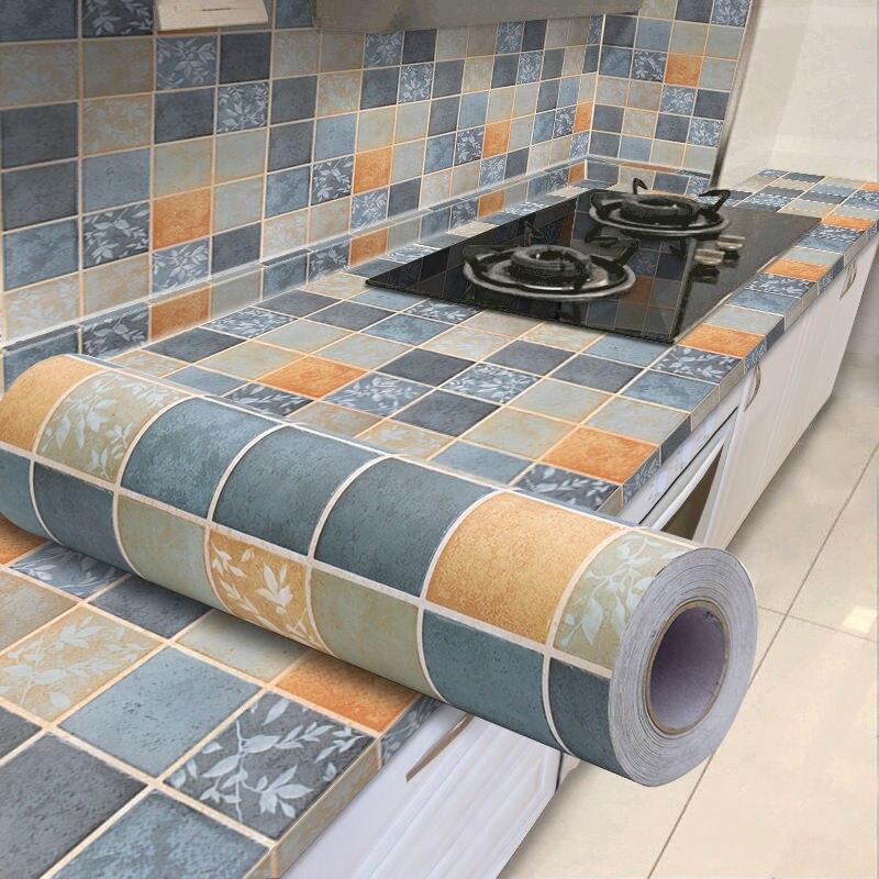 0,6x5 м бытовые кухонные масляные наклейки водонепроницаемые плиты шкаф ванная плитка старая мебель восстановленные самоклеящиеся обои