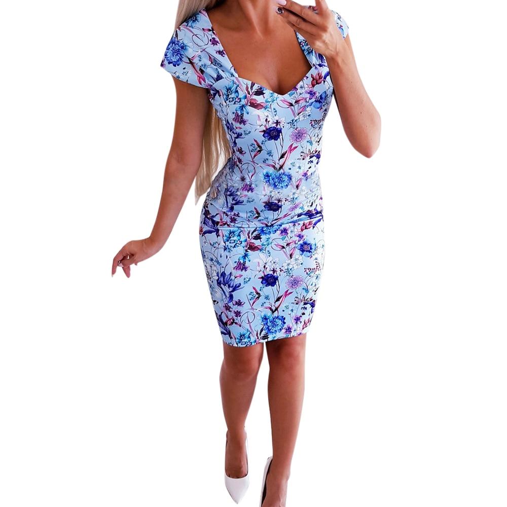 Women Vintge Bodycon Dress 2019 New Summer Sexy Sleeveless Low chest V-Neck Blue Print Slim Mini Dress Female Vestidos Clothing