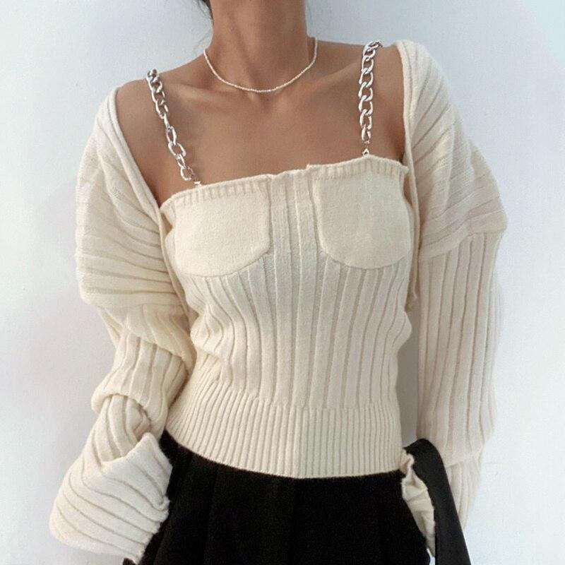 Korean Women Vest Strip Chic Elegant Design Metal Chain Pit Shawl Sweater Two-piece Set