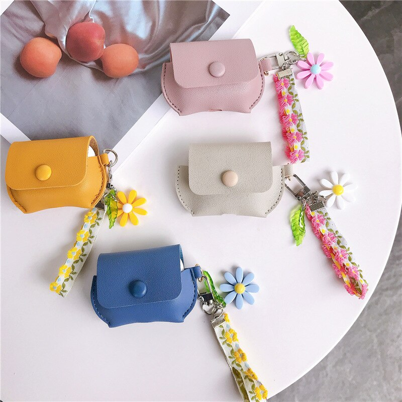 Real Leather Case For AirPods Pro Case Fashion Flower Earphone Cover For Airpods Case Silicone Soft Funda