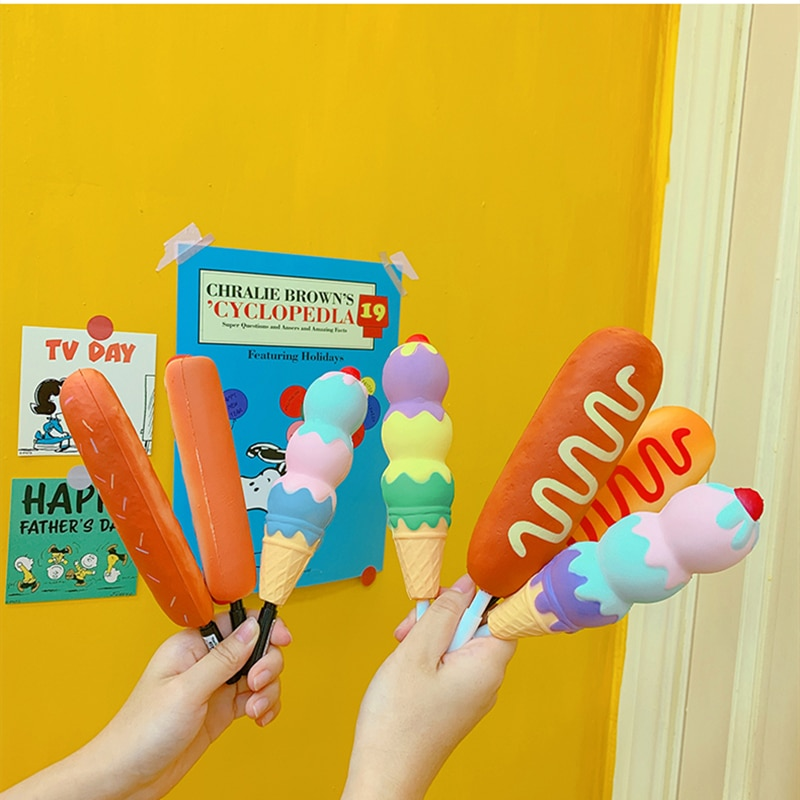 New Squishy Antistress Toys Ice Cream Hot Dog Unicorn Slow Rising Pen Cap Soft Squeeze Pen Stress Relief Toy Children's Day Gift enlarge