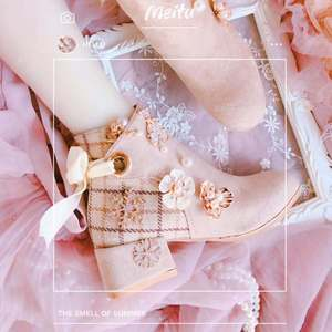 Lolita flower plaid cute bear boots short tube female mid-heel girl sweet girl shoes high heel  bandage kawaii shoes cosplay