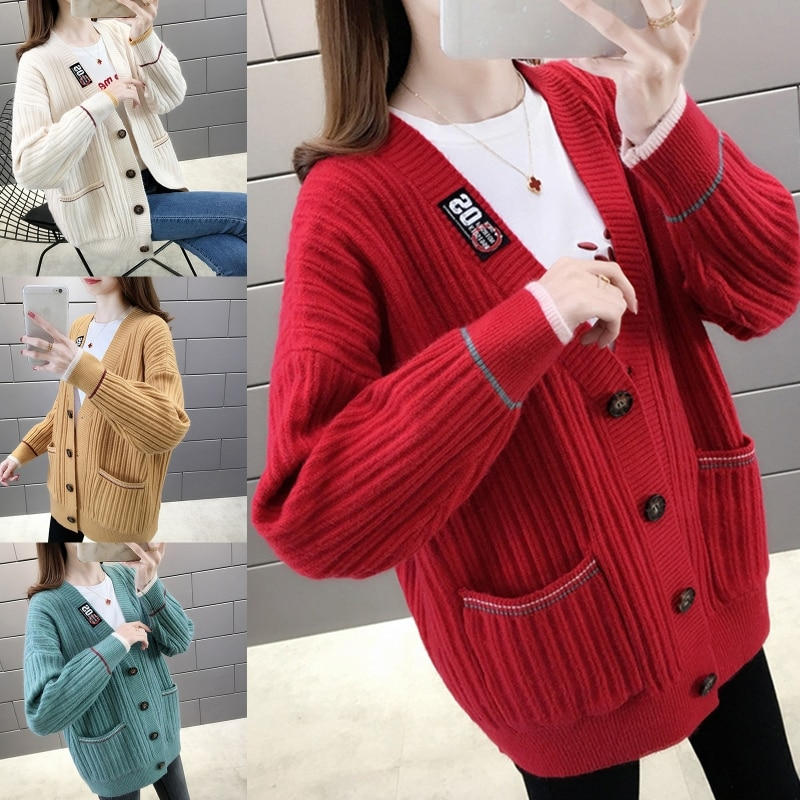 Women Long Sleeves Knit Cardigan Sweater Single-breasted Labeling Stitching Coat enlarge