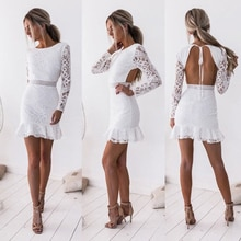 2020 Sexy Dresses Woman Backless Hips Slim Long Sleeve Lace Dress Women Solid Lace Bodycon Slim Mini