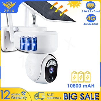 4G SIM Card Security IP Camera WiFi 1080P Video Surveillance Outdoor Solar Camera Motion Detection Two Way Audio Bettery IP66
