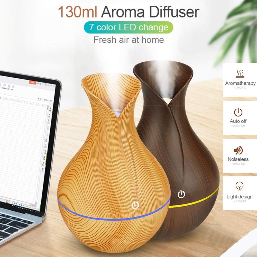 130ml Humidifier Essential Aroma Oil Diffuser Ultrasonic Wood Grain Air Humidifier USB Mini Mist Mak