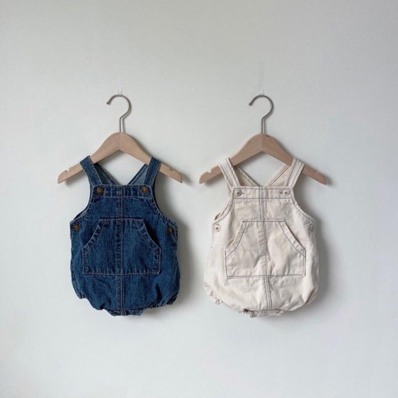 MILANCEL baby clothing sleeveless baby bodysuits baby girls denim bodysuits Korean style  baby one piece