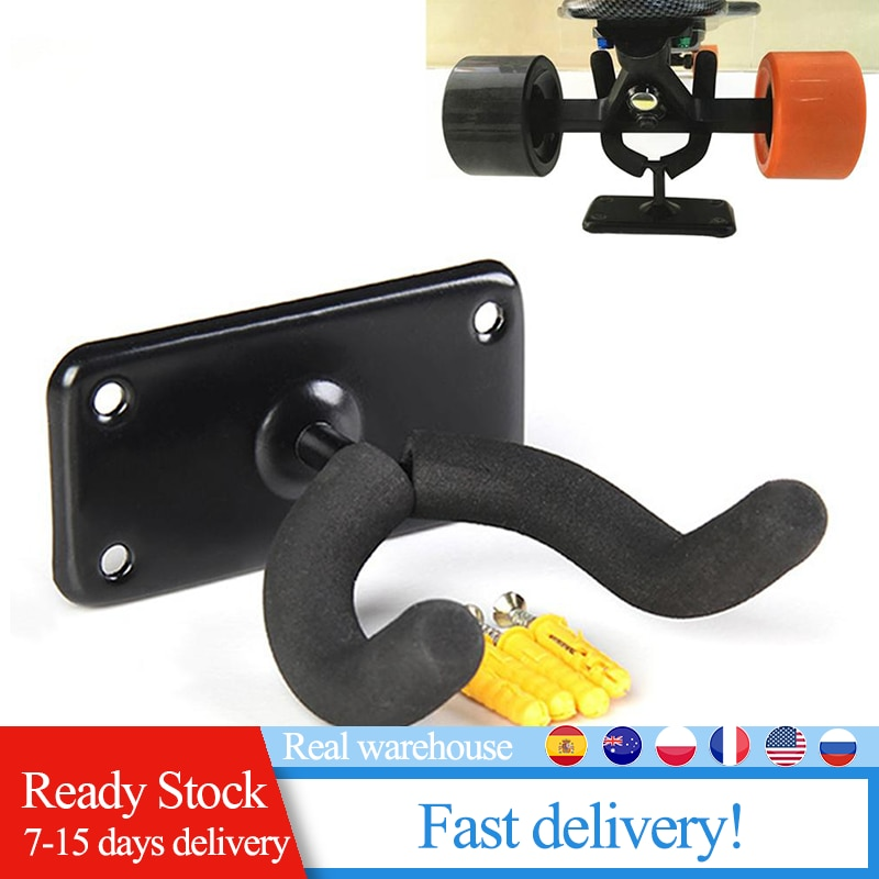 1Pc  Cover Iron Wall Hanger Skateboard Wall Mount Longboard Hanging Rack Guitar Mount Holder Hook Accessories Portable
