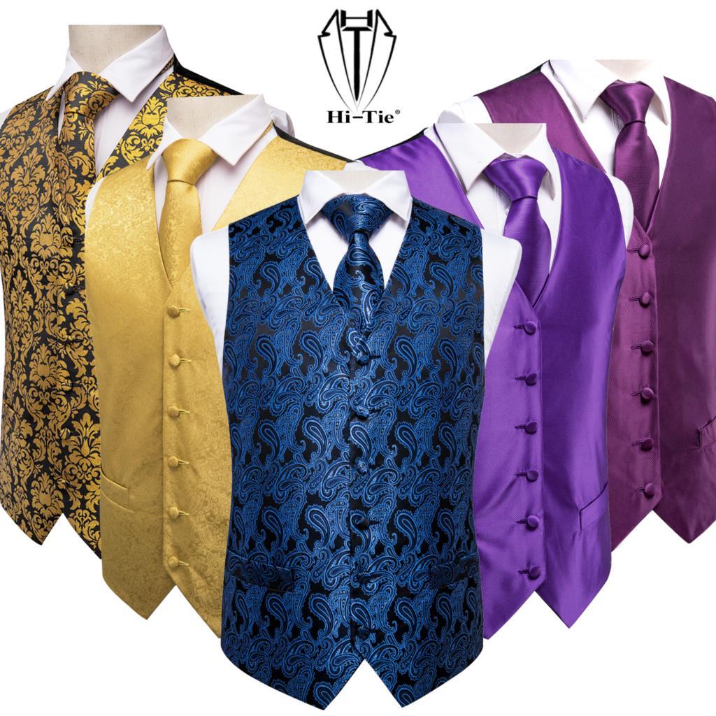 Высококачественный Шелковый мужской облегающий жилет из 4 предметов, синий темно-синий галстук с узором пейсли, платок, запонки, костюм, жил...