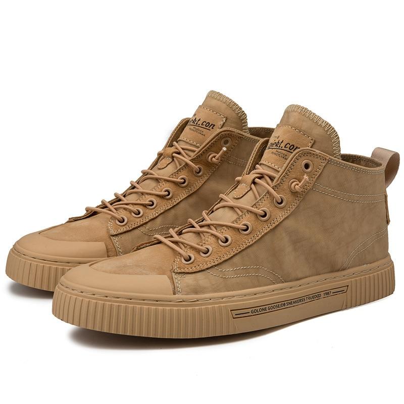 Zapatos de lona de alta calidad para Hombre Zapatos Deportivos transpirables de piel de cerdo zapatos de marea salvaje para hombres botas Martin británica