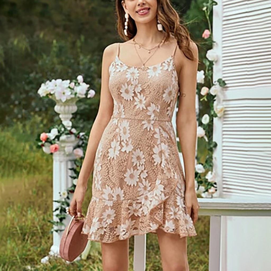 Summer Women Dress Spaghetti Strap Sun Fower Printing Knee-Length Dress Ladies Casual Sling Tube Top Lace Bohemia Beach Dresses