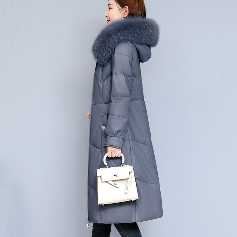 Outerwear Winter Fashion Down jacket Women Leather Jacket 2021 New Big Fur Collar High Quality Warm Hooded Women Jacket JK255 enlarge
