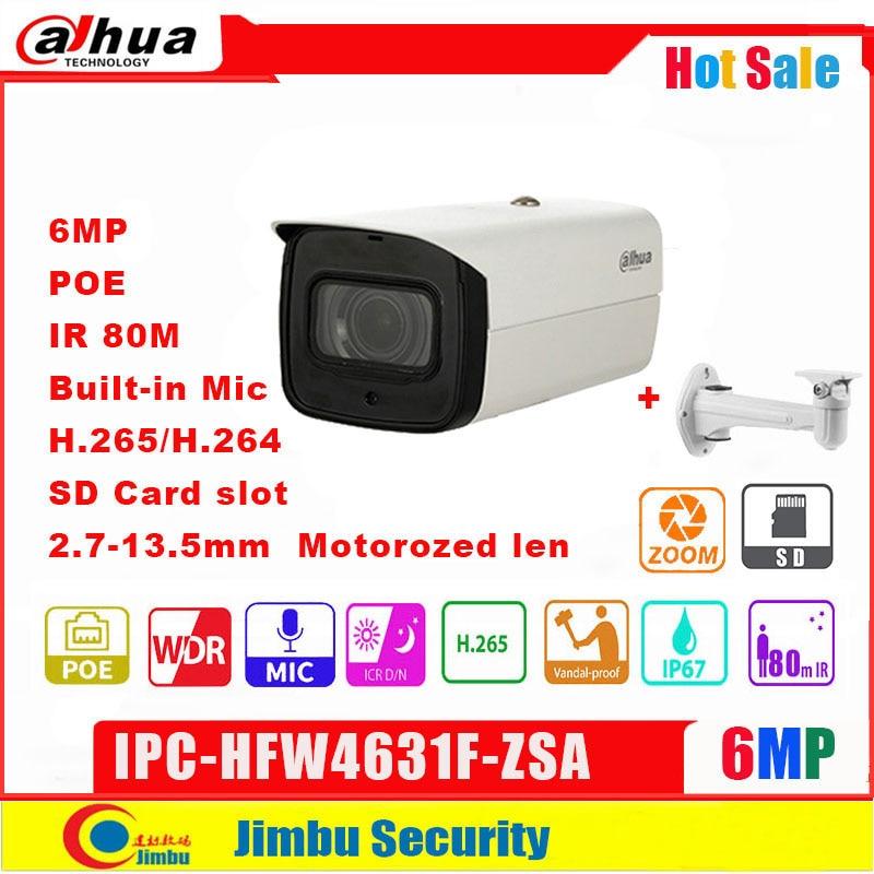 داهوا 6MP IP كاميرا تلفزيونات الدوائر المغلقة فاريفوكال عدسة بموتور 2.7-13.5 مللي متر IPC-HFW4631F-ZSA POE IP67 IR80m الأمن كاميرا بنيت في هيئة التصنيع العسكري