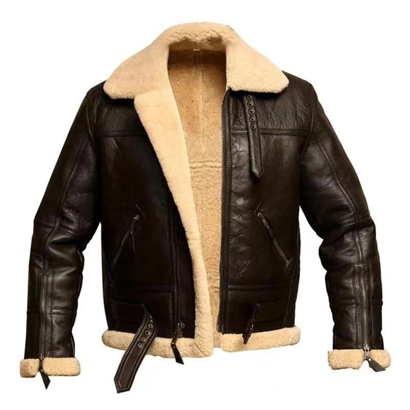 MORUANCLE رجل شتاء دافئ سترات من الجلد والمعاطف صوف مبطن سميكة الحرارية للدراجات النارية السائق سترات ملابس خارجية حجم كبير S-5XL