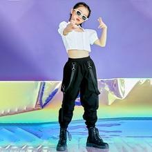 New Modern Dance Cotume Puff Sleeve Crop Tops Girls Hip Hop Street Dancewear Stage Performance Wear