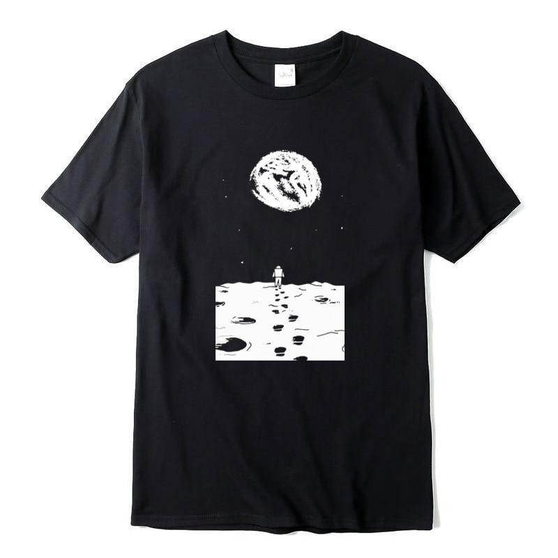Camiseta informal de moda para hombre XIN YI, camiseta de manga corta 100% algodón con estampado de Luna, camisetas tejidas de cuello redondo para hombre