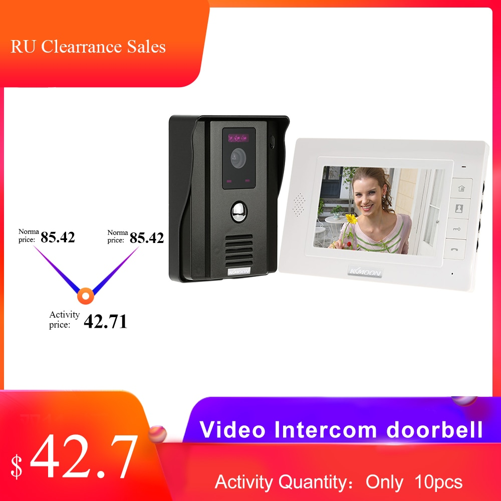KKmoon Hause Intercom Video Tür Telefon 7 zoll Monitor 1200TVL Türklingel Kamera Video Intercom Kit Schiff von Russische